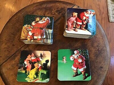 Vintage ~ Coca -Cola Christmas Coasters Santa Claus Cardboard Cork Set Of 22