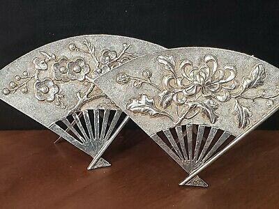 Pair of Antique Chinese Export Silver FAN Place Card Holders LOTUS & DOGWOOD