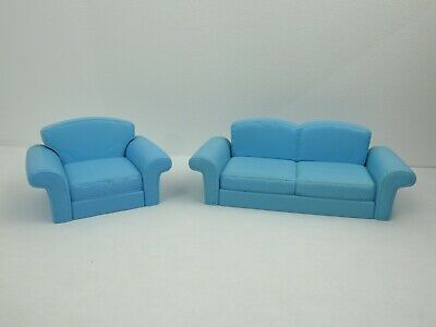 Barbie Doll  Couch & Armchair Blue Dollhouse Furniture 67553 Diorama Staging HTF