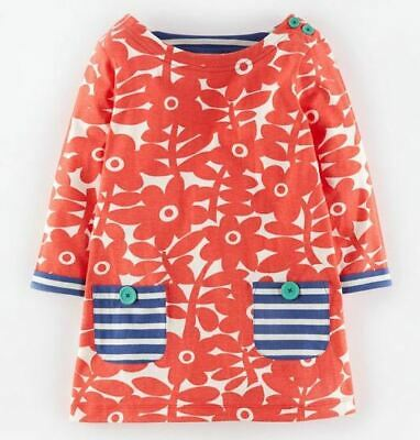 Mini Boden girls red flower dress / tunic new and unworn age 4 - 5 years