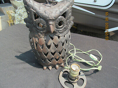 """ANTIQUE LARGE CAST IRON OWL CANDLE HOLDER HANGING LANTERN Lamp 11.5"""" Tall"""