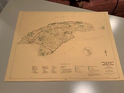 Vintage 1974 Keweenaw County Michigan DNR Highway & Recreation Information Map
