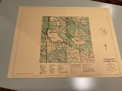 1974 Roscommon County Michigan DNR Highway & Recreation Information Map