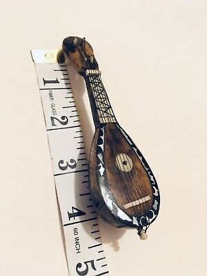 Miniature Mandolin Antique faux Tortoise Shell Inlaid Mother of Pearl Exc Cdn
