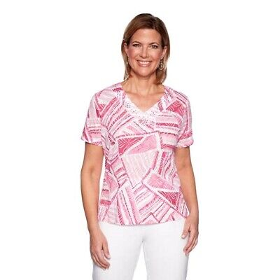 $50 New Alfred Dunner Patchwork Top T Shirt Women's Plus Size 2X Pink NWT