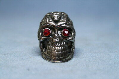 Collectable Miao Silver Carving Person Cranial Head Red Eyes Noble Handwork Ring