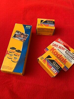 Kodak Film Lot: Unopened Box 4 Rolls Kodak Max 400; 1 Super 200; 1 Plus 100.