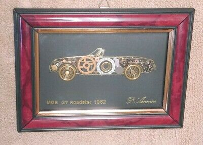 1962 MG-B Roadster Framed Picture Made With Watch Parts by P. Ammon