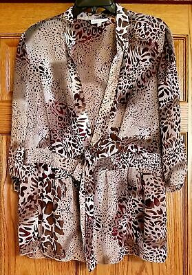 Fashion Bug  Animal Print Semi-Sheer Tunic Top Swimsuit Cover Up  Size 18/20