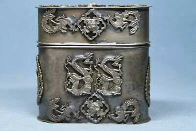 Collectable Decoration Miao Silver Carving Dragon Auspicious Rare Toothpick Box