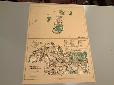 Vintage 1974 Charlevoix County Michigan DNR Highway & Recreation Information Map