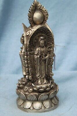 Collectable Handmade Miao Silver Carving Three Sides Buddhism Exquisite Statue