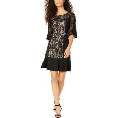 NY Collection Womens Black Lace Bell Sleeve Cocktail Dress Petites PS BHFO 6744