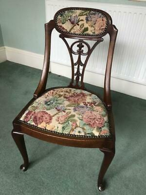 Edwardian style dark wood side/dining chair with tapestry seat and carved back