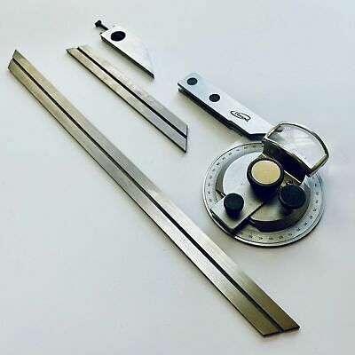 """Universal Bevel Protractor With 6"""" And 12"""" Blades, Stainless, Case"""