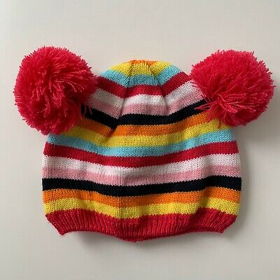Next Girls Multicoloured Stripe Pom Hat - 12-18 Months - Immaculate Condition