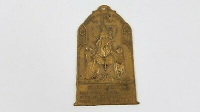 Antique Polish Queen Of The Holy Rosary Pray For Us Wall Plaque RARE R3