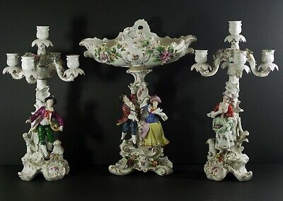 Sitzendorf Germany Antique Set 2 Candelabras And Center Bowl Figural 17""