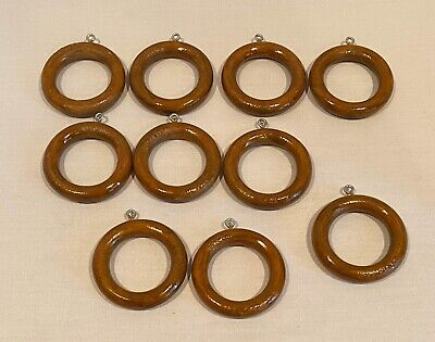 10 Brown Wood Wooden Curtain Rings w/Screw Eye Pole Drapery Rod Crafts