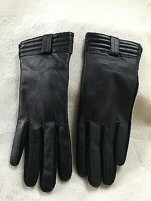 Womens Black Driving Gloves Soft Warm & Touchscreen Leather Gloves PAGE ONE Sz M