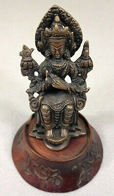 Antique  BUDDHA on throne  BRONZE TIBET CHINA STATUE hand carved wooden base