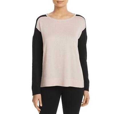 Donna Karan Womens Pink Colorblock Long Sleeve Pullover Sweater Top L BHFO 4500