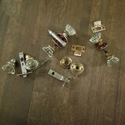 Lot Of 3 Vintage Antique Glass & Brass Door Knobs Inc All Hardware