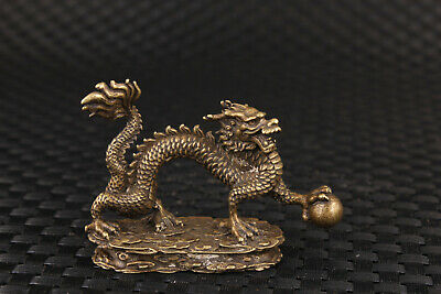 chinese bronze dragon home fengshui statue figure table decoration