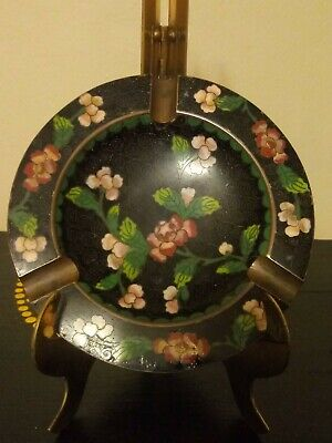 Vintage Chinese Cloisonne Enamel Brass Floral Ashtray with 3 Cigarette Holders