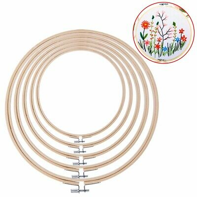 5pcs Wooden Cross Stitch Machine Embroidery Hoop Ring Bamboo Sewing Tools