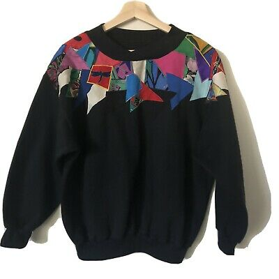 80s 90s Patchwork Embroidered Jumper Like New Condition Kath & Kim Vibes Size M