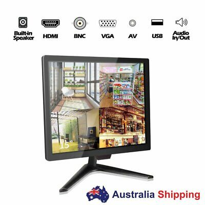 "15"" Professional Security Monitor BNC Chrome Silver &Glass Panel VGA HDMI AV4:3"