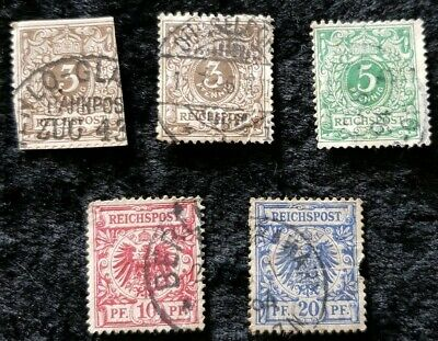 5x 1889/1900 Germany stamps used see pics for grading