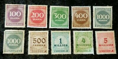 10x Germany 1923 stamps UNUSED see pics for grading