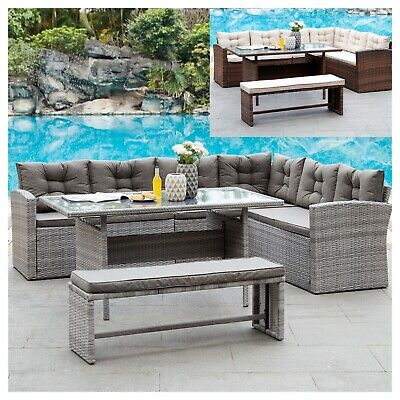 Rattan Corner Group Garden Furniture Set Outdoor Dining Sofa Set Table & Bench
