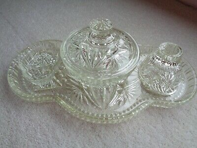 Art Deco Glass Tray Dressing Table Stand Vintage Beauty Vanity 1930s Glassware