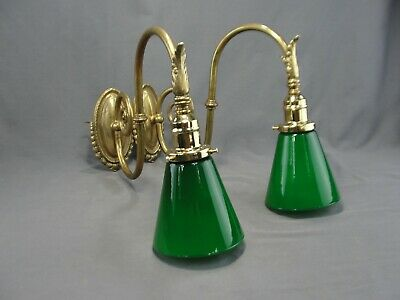 Antique Pair Cast Brass Light Sconces French Vianne Cased Green Glass Shades