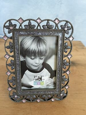 "Gun Metal Gray MYX Metal Picture Frame w/ Pink & Purple Flowers  2"" X 3"" NWOT"