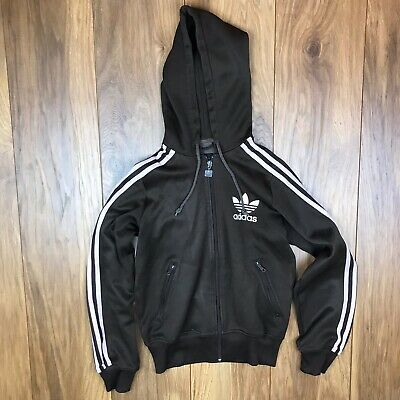 Adidas Kids Girls Brown And Pink Full Zip Polyester/Cotton Hoodie Size 10 Years
