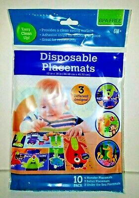 Baby Disposable Feeding Travel Placemats BPA Free Pack of 10 2 Packs