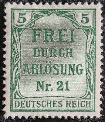 Reich 1903 100% Postage Due Frei Durch Ablösung Nr. 21 stamp see pics for gradin
