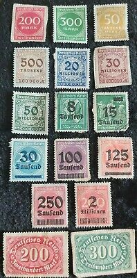 16x Germany stamps 1922-23 Numeral Inflation OVPT UNUSED see pics for grading
