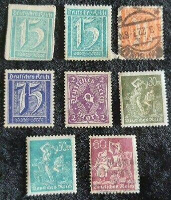 8x Germany 1921-22 New Daily stamps 2 Used see pics for grading