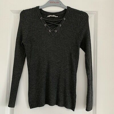 Matalan Candy Couture Girls Grey Ribbed Jumper - Age 12 Years - Immaculate Cond.