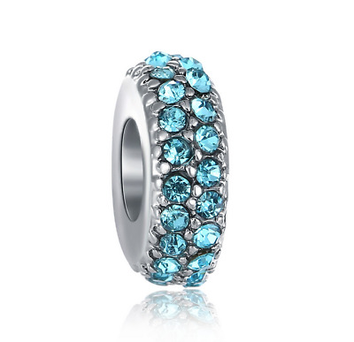 DIY Silver European CZ Charm Blue Crystal Spacer Beads Fit Necklace Bracelet NEW