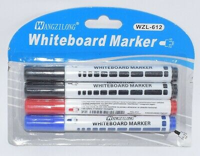 Pack Of 4 Wipe-Able White Board Markers 3 Different Colours Fine Nib School/Offi