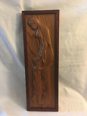 Vintage Wood Carved Relief Mother and Child