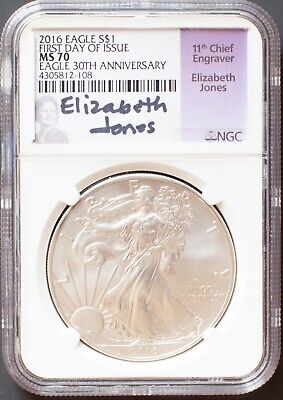 2016 Silver Eagle $1 NGC MS 70 Elizabeth Jones Signature