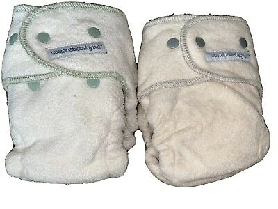Lot of 2 Sloomb SustainableBabyish Fitted Cloth Diapers Size 2 W Bamboo Insert