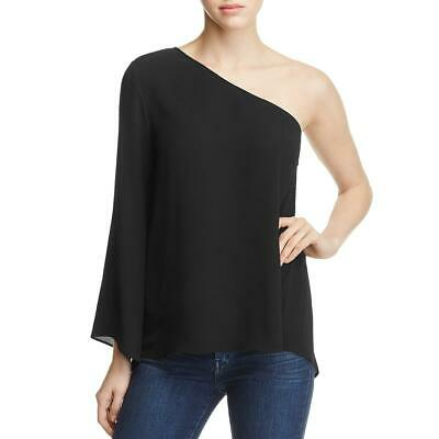 Vince Camuto Womens Black Crepe One Shoulder Long Sleeve Blouse Top S BHFO 1526